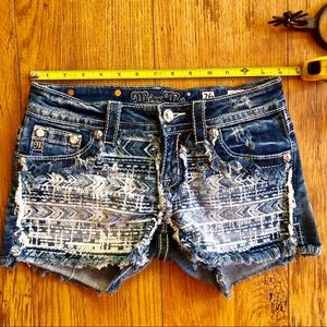 Aztec Miss Me Cut Off Shorts 26 Bling